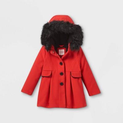 Toddler Girls' Faux Fur Hooded Coat - Cat & Jack™