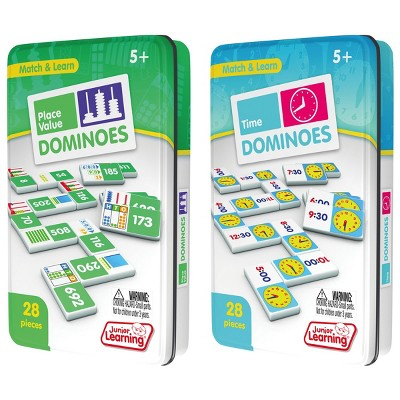 Junior Learning Place Value & How To Tell Time Dominoes - 2 Domino Games