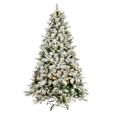 "Vickerman 7.5' x 52"" Flocked Ellis Pine Artificial Christmas Tree, Warm White Dura-Lit® LED Lights"