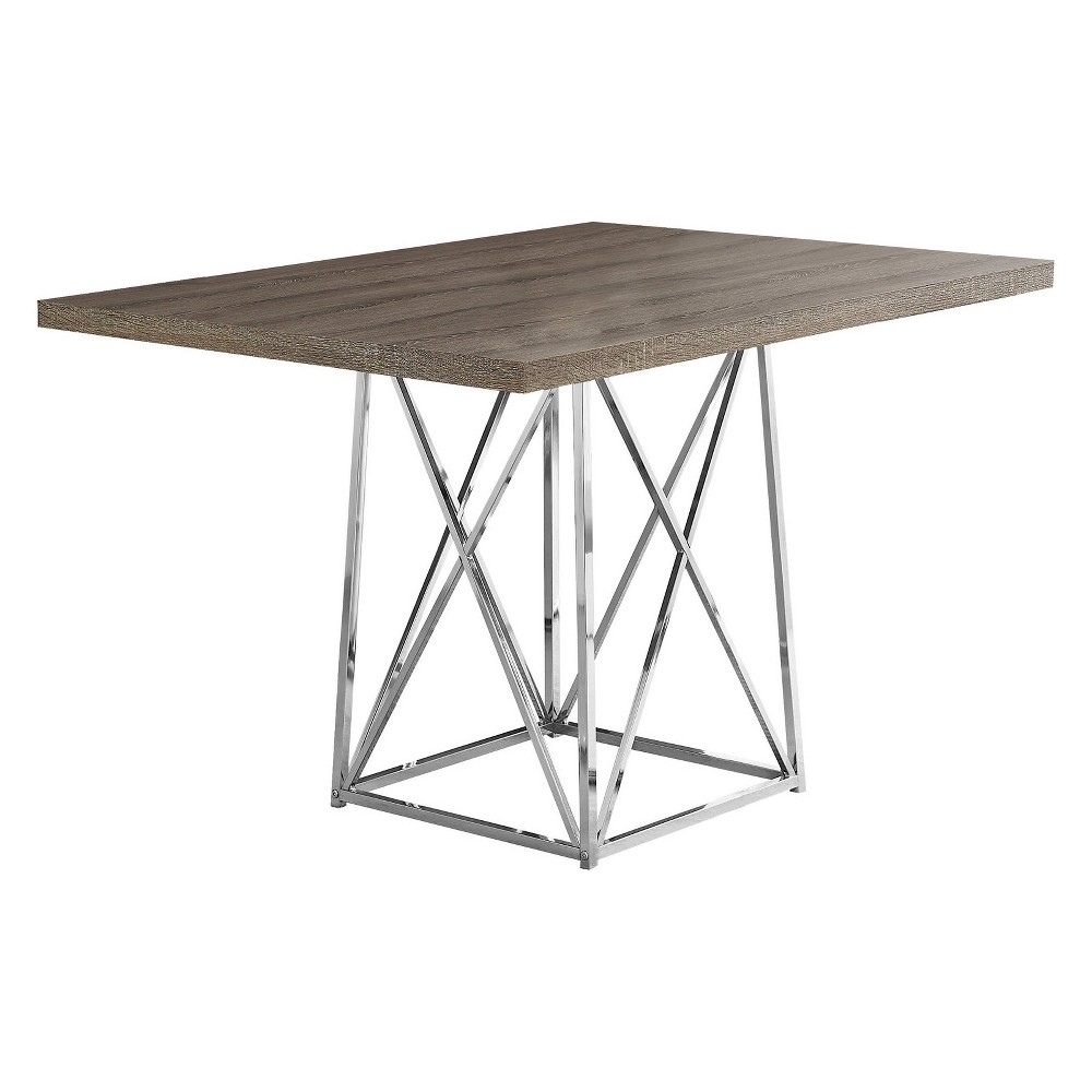 "Image of ""36""""X 48"""" Dining Table Chrome Metal Dark Taupe - EveryRoom, Dark Brown"""