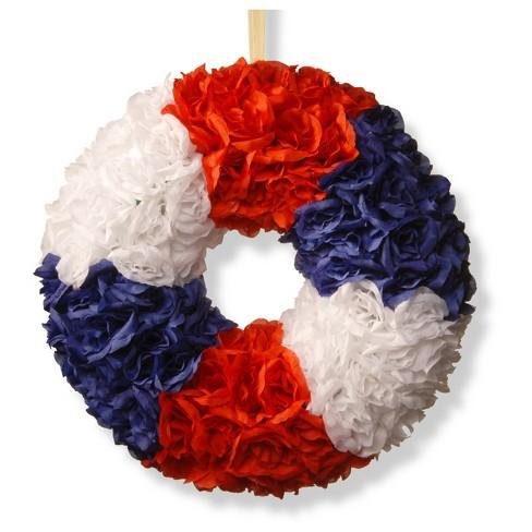 "18"" Patriotic Rose Wreath - National Tree Company - image 1 of 4"