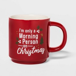16oz Stoneware Morning Person on Christmas Mug Red - Threshold™