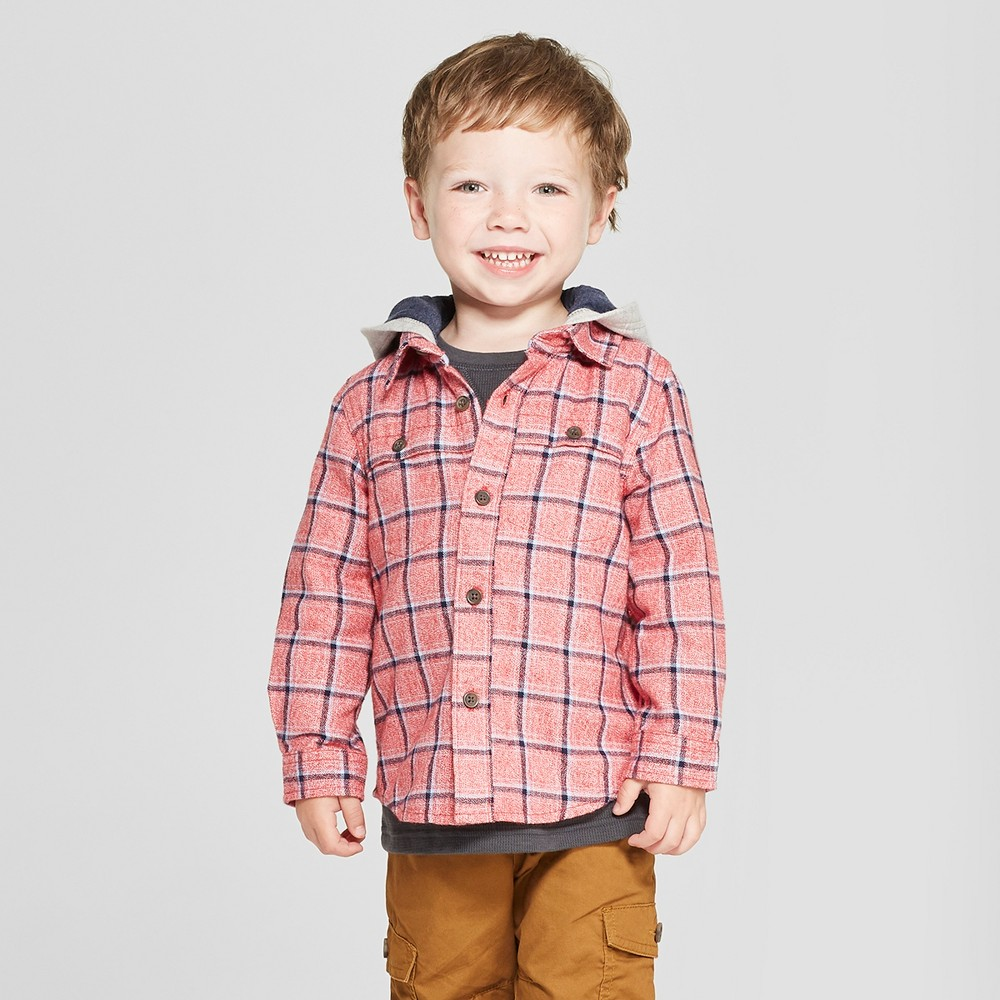 Toddler Boys' Long Sleeve Button-Down Shirt with Hood - Cat & Jack Red 5T