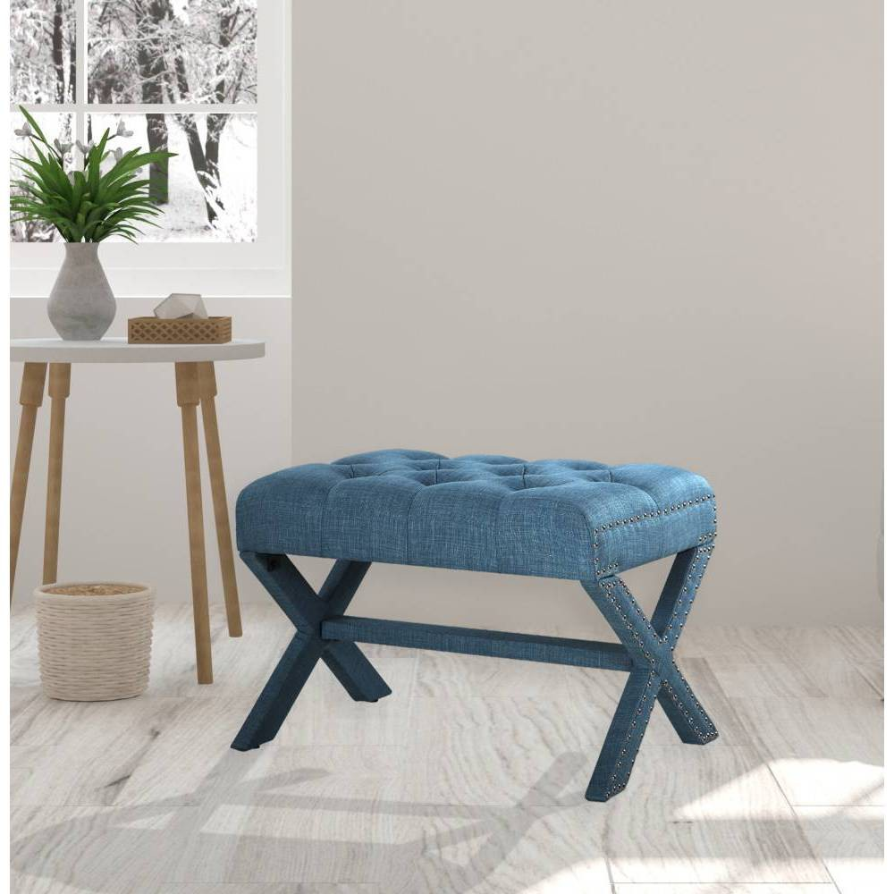 Gaia Ottoman Blue - Chic Home Design was $179.99 now $107.99 (40.0% off)