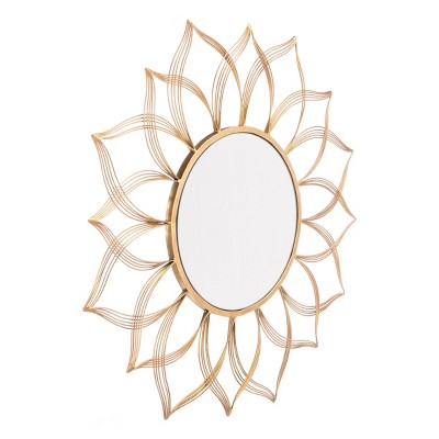 """ZM Home 28"""" Luxe Floral Mirror Gold"""