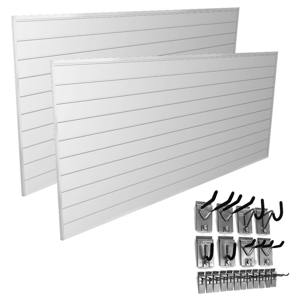 Proslat 64 sq ft Garage Organizer Bundle and 20 Piece Hook Kit, White