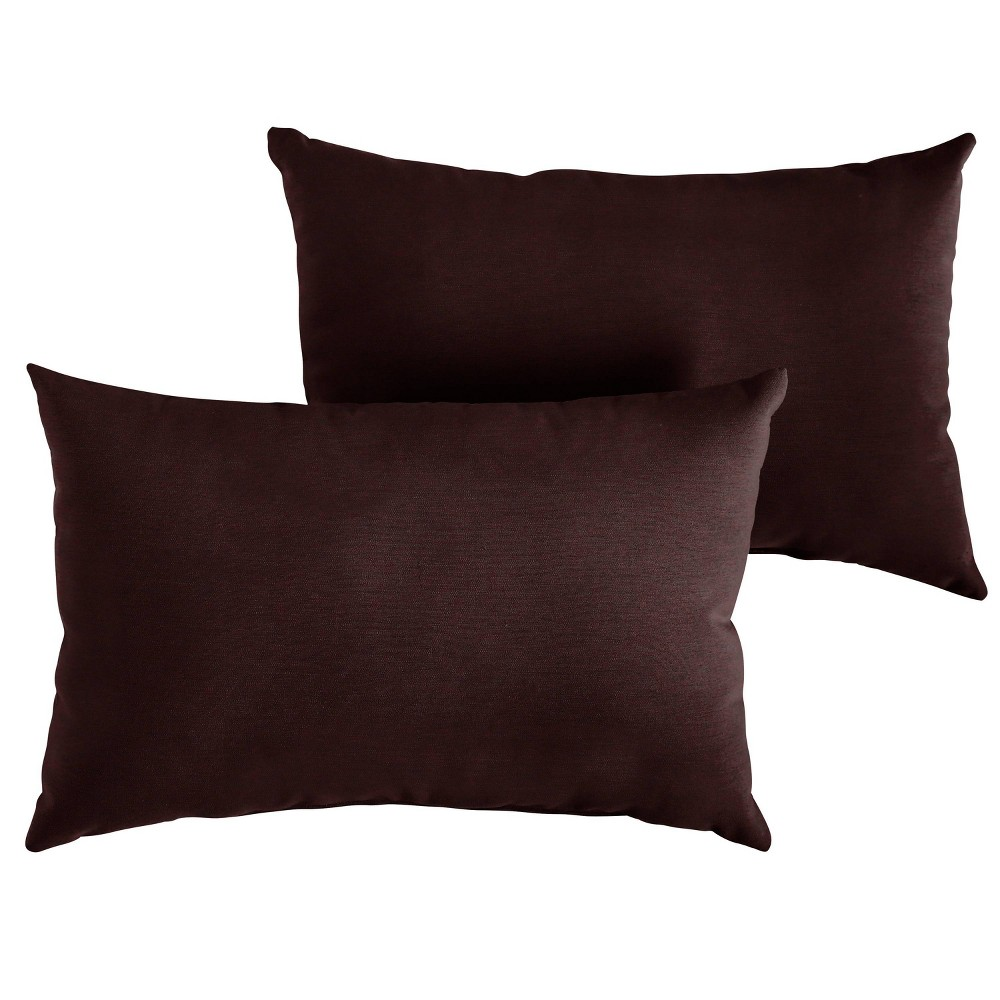 2pk 12 34 X18 34 Sunbrella Outdoor Throw Pillows Burgundy