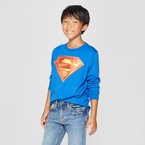 Boys' Superman Long Sleeve Graphic T-Shirt - Blue - image 1 of 3