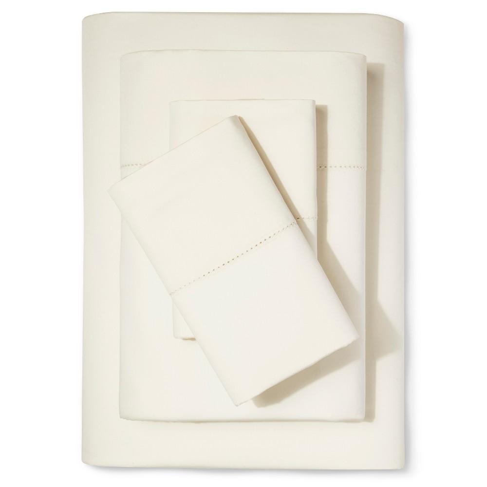 Supima Classic Hemstitch Sheet Set (Cal King) Shell (White) 700 Thread Count - Fieldcrest