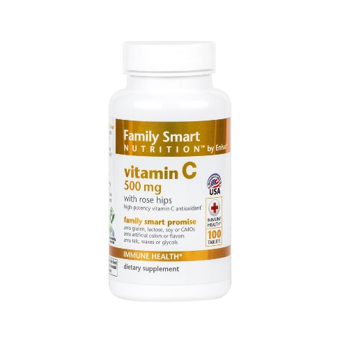 Family Smart Nutrition Vitamin C 500mg with Rosehips - 100ct - image 1 of 3