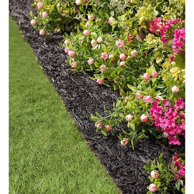 Plow & Hearth - Permanent Mulch Recycled Rubber Border for Gardens & Pathways