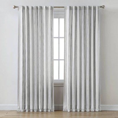 Striped Light Filtering Curtain Panel Gray - Threshold™