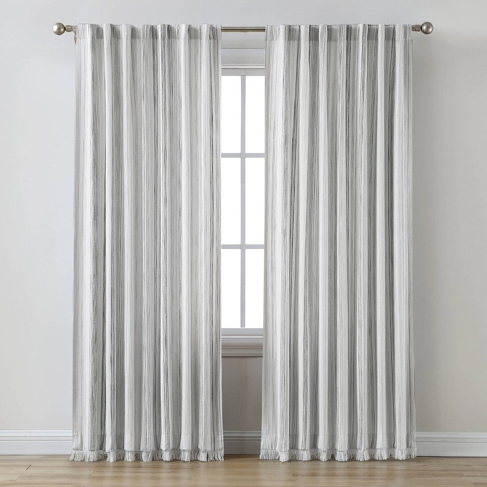 "Promos 63""x50"" Striped Light Filtering Curtain Panel Gray - Threshold™"