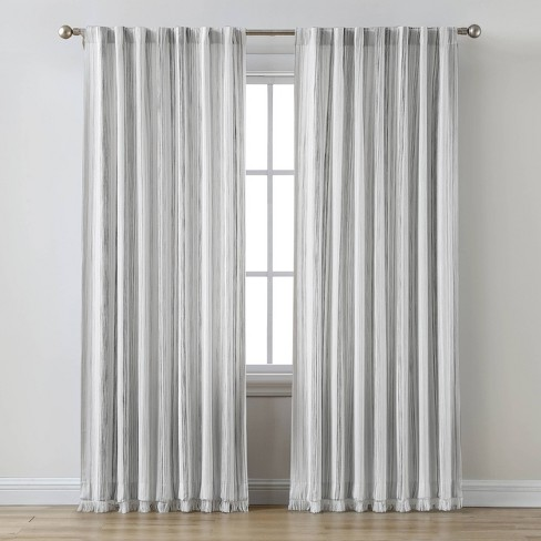 Striped Light Filtering Curtain Panel, Grey Striped Curtains