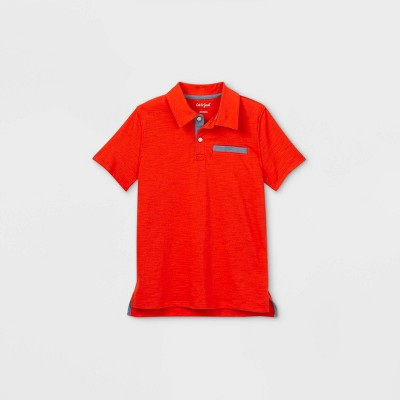 Boys' Short Sleeve Knit Polo Shirt - Cat & Jack™ Orange