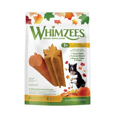 Whimzees Fall Medium Dental Dog Treats - 6.3oz