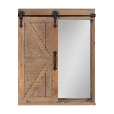 Decorative Wood Wall Storage Cabinet with Vanity Mirror and Sliding Barn Door Rustic Brown - Kate & Laurel All Things Decor