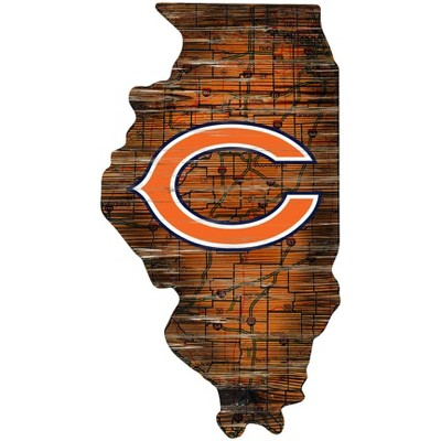 """NFL Chicago Bears State Wooden Wall Art - 12"""""""