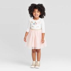Toddler Girls' 3/4 Sleeve Unicorn Tutu Dress - Cat & Jack™ White/Pink