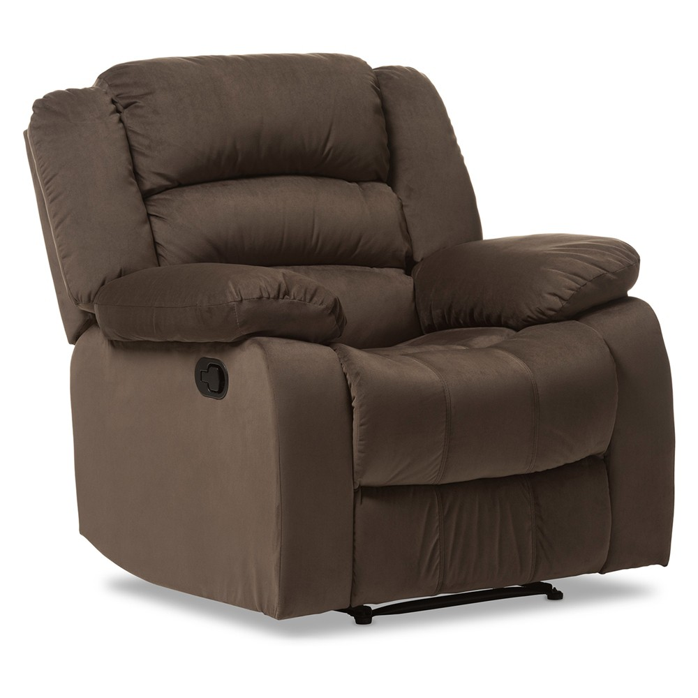 Hollace Modern and Contemporary Microsuede 1 - Seater Recliner - Taupe - Baxton Studio, Brown