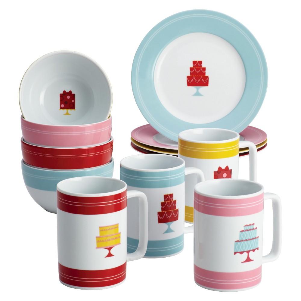 Image of Cake Boss 12 Piece Novelty Serveware Complete Mini Cake Dessert Set, Multi-Colored