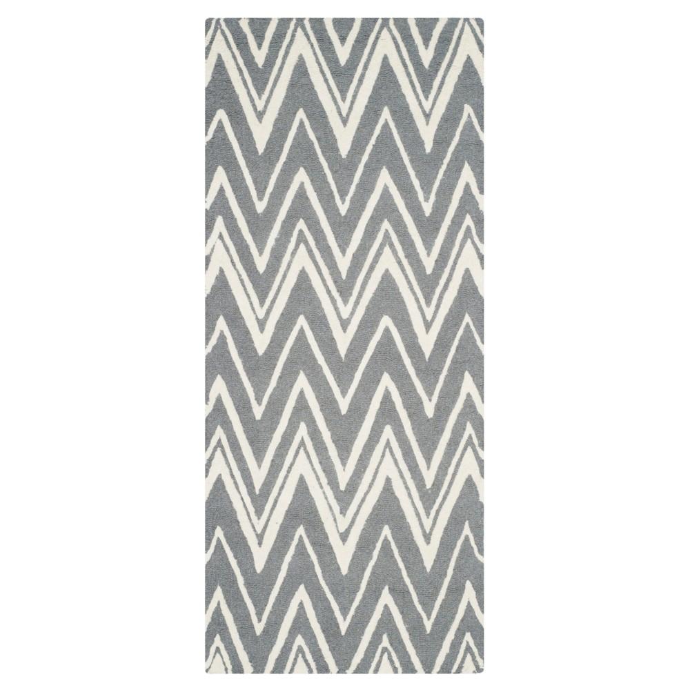 Burton Textured Rug - Dark Gray / Ivory (2'6 X 6') - Safavieh, Dark Gray/Ivory