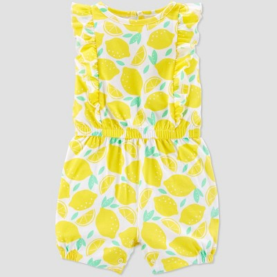 Baby Girls' Lemon Print One Piece Romper - Just One You® made by carter's Yellow Newborn