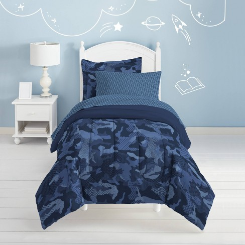 Twin Geo Camo Mini Bed In A Bag Blue - Dream Factory - image 1 of 4