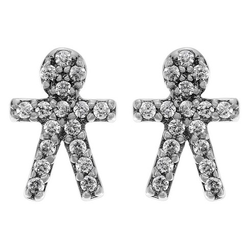 1/3 CT. T.W. Round-cut CZ Boy Stud Pave Set Earrings in Base Metal - Silver - image 1 of 2