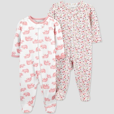 Baby Girls' 2pk Bear and Floral Sleep N' Play - Just One You® made by carter's Pink Newborn