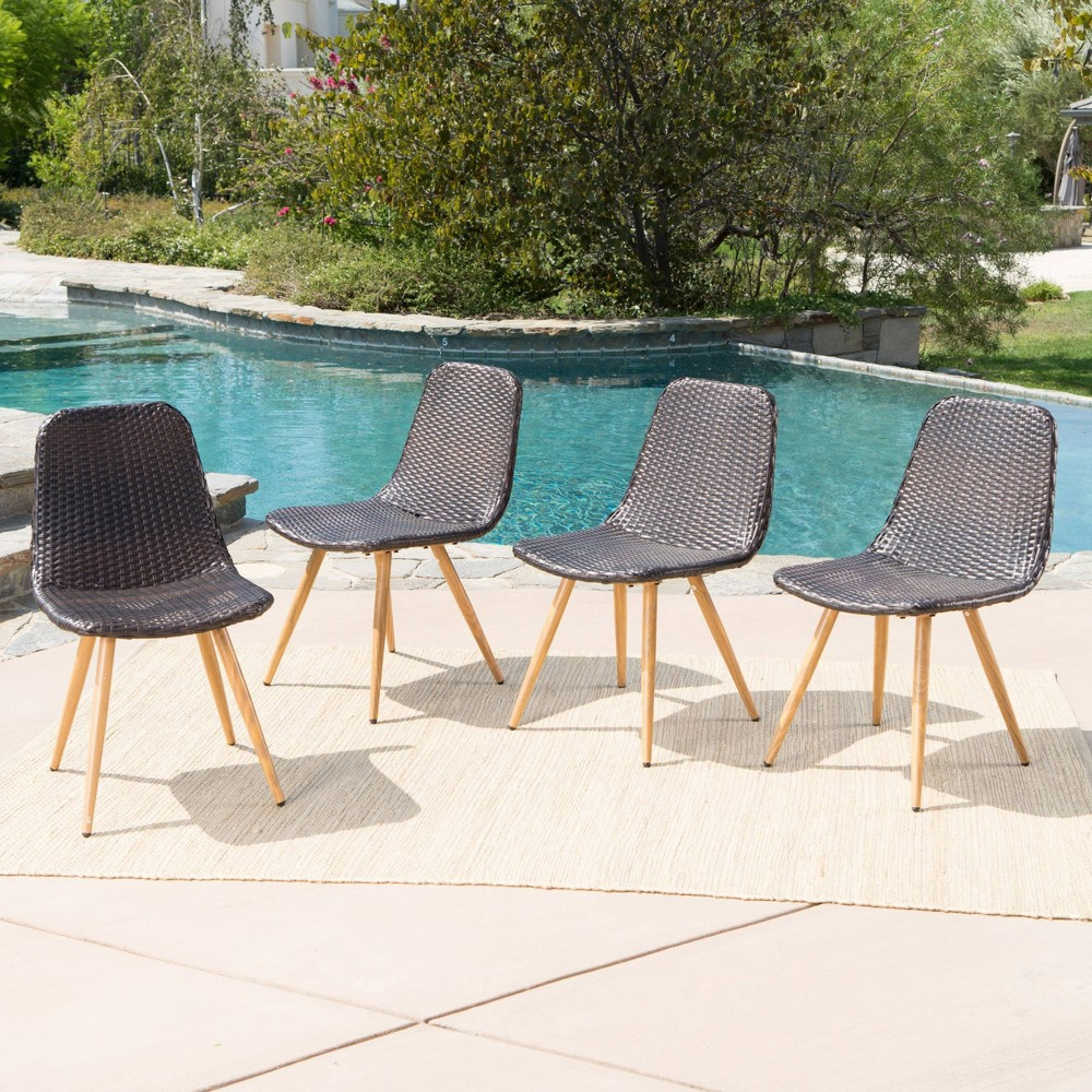 Gila 4pk Wicker Dining Chairs - Brown/Light Brown - Christopher Knight Home