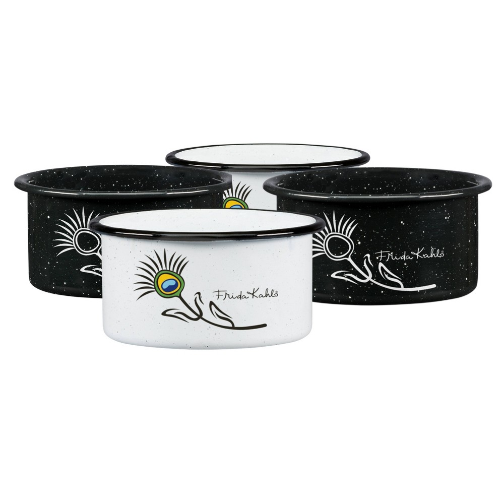 Image of 12.9oz 4pk Enamelware Frida Kahlo Dip Bowl Set Black/White - Cinsa, White Black