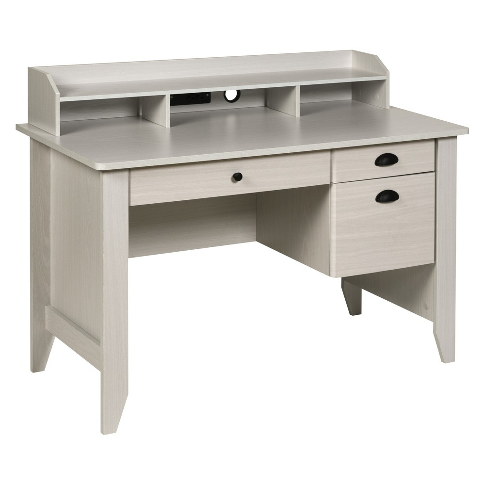 Executive Desk with Hutch Usb And Charger Hub White Oak - OneSpace