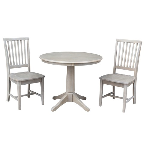 Round Top 36 X Solid Wood Pedestal Dining Table And 2 Chairs Weathered Gray 3pc Set International Concepts