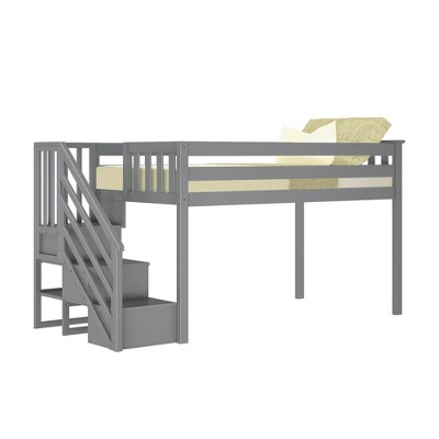 Max & Lily Twin Low Loft Bed with Staircase