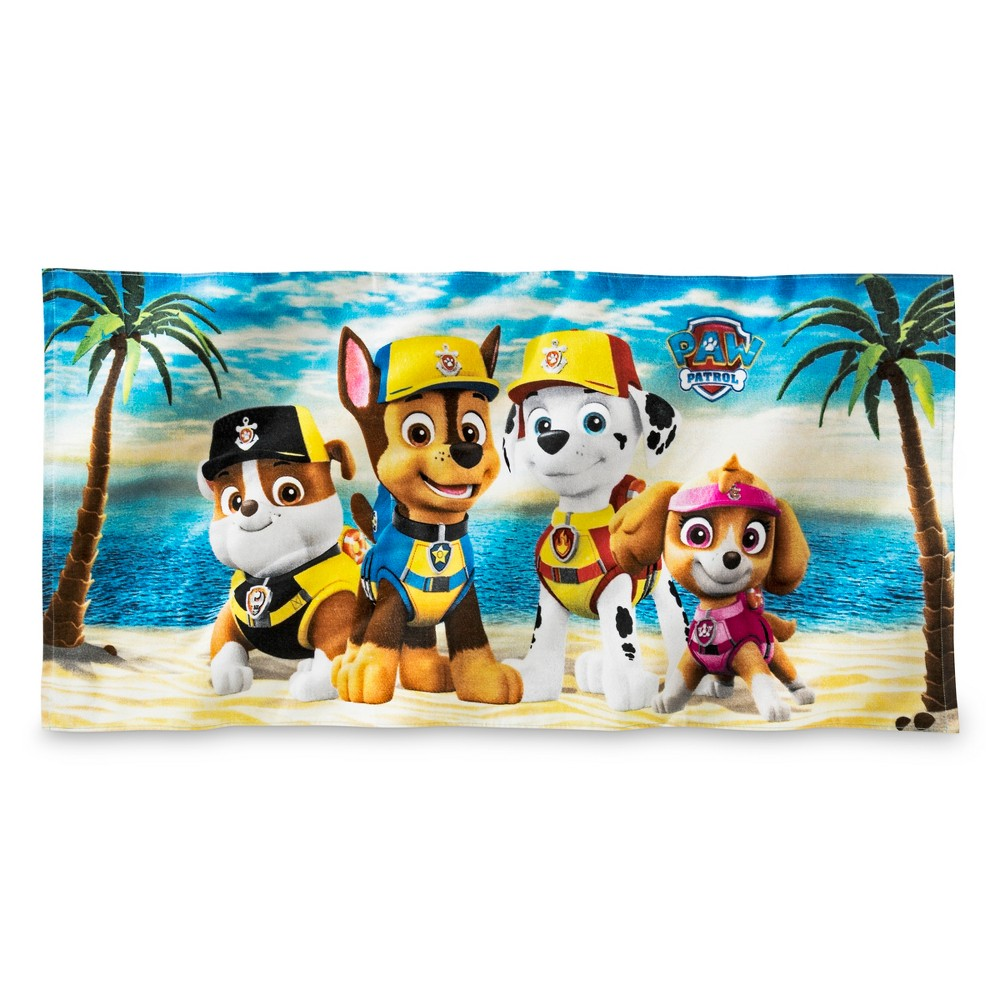 Image of Paw Patrol Beach Towel Blue and Yellow - Nickelodeon, Purple And Pink