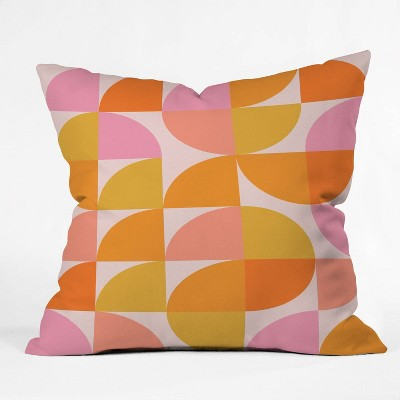 "16""x16"" June Journal Mid Century Modern Geometry Throw Pillow Orange - Deny Designs"
