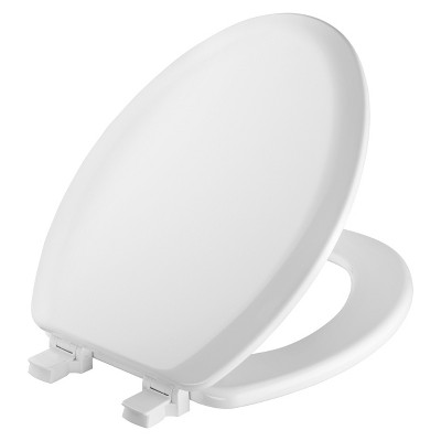 Elongated Molded Wood Toilet Seat with Easy Clean & Change Hinge White - Mayfair by Bemis