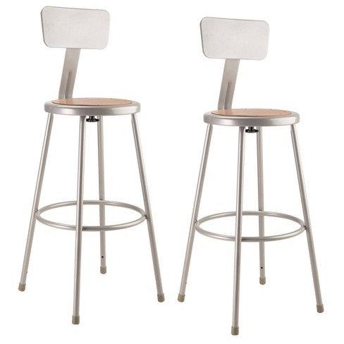 """2pk 30"""" Heavy Duty Steel Stool with Backrest Gray - Hampton Collection - image 1 of 4"""