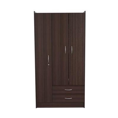 3 Door and 2 Drawer Wardrobe/Armoire Espresso - Inval