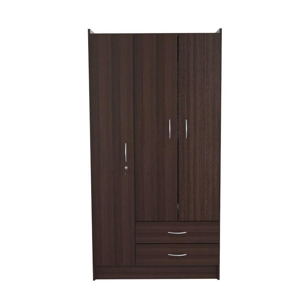 Image of 3 Door & 2 Drawer Wardrobe/Armoire Espresso - Inval