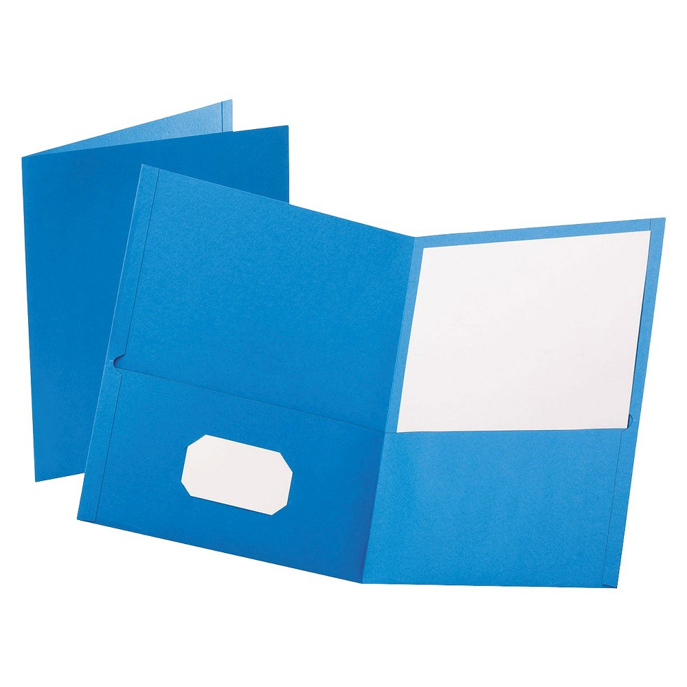 Oxford Twin-Pocket Portfolio with Embossed Leather Grain Paper Folder - Light Blue (Box of 25) Leatherette-grained stock provides a richer look and feel. Die-cut business card slot on inside front pocket keeps contact information at hand. Color: Light Blue.