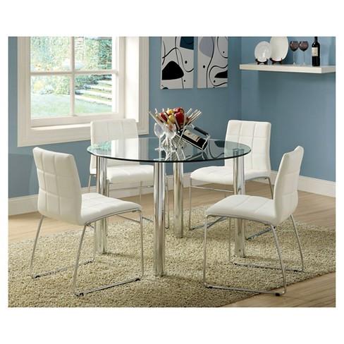 IoHomes Pc Glass Top Chrome Leg Round Dining Table Set MetalWhite - Cheap glass top dining table set