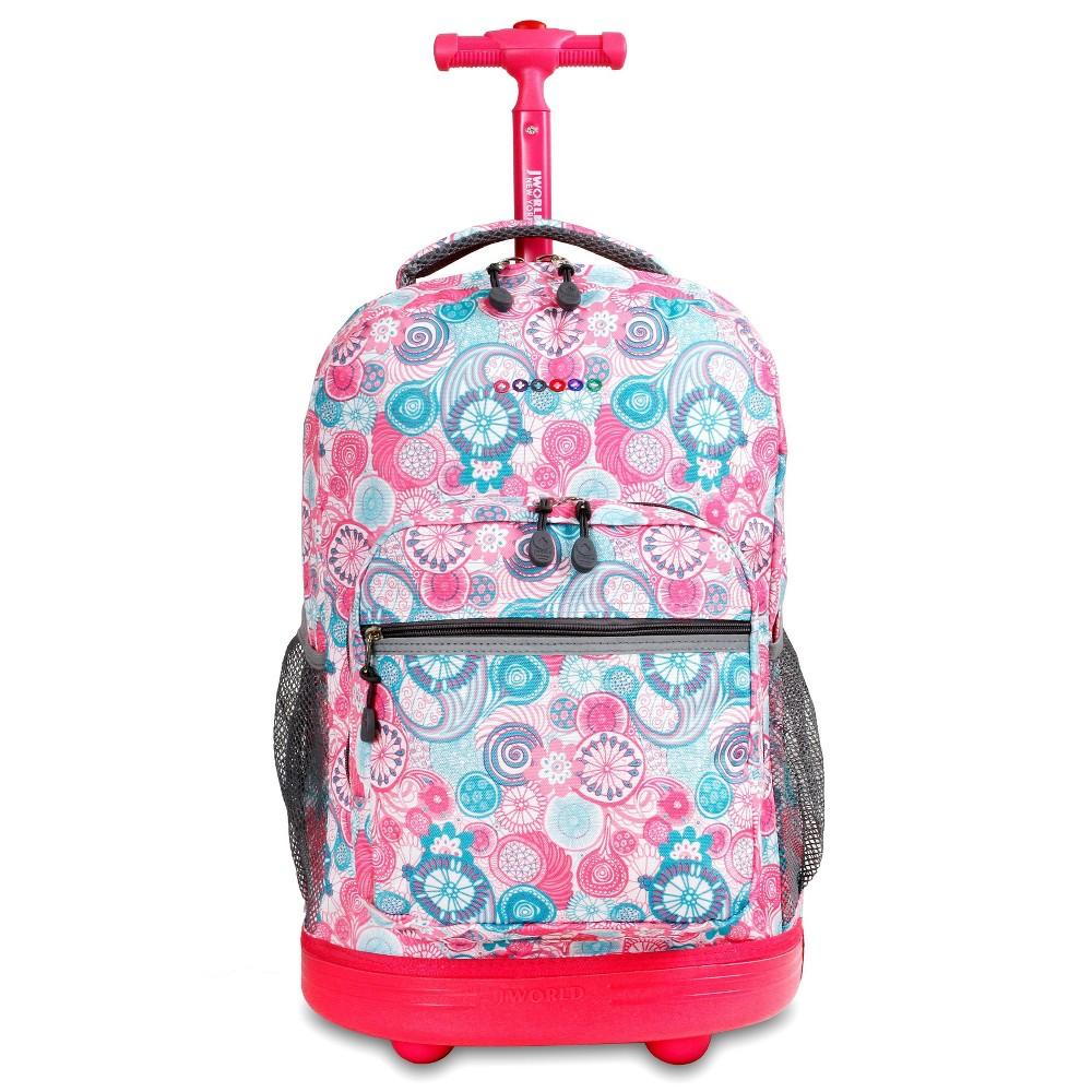 J World 18 Sunrise Rolling Backpack Blue Raspberry