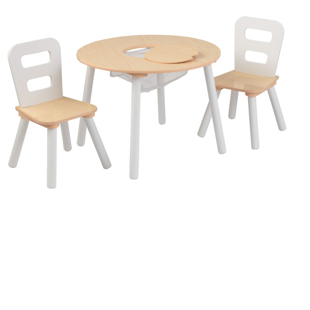 Round Table and Chair White/Natural (Set of 2) - KidKraft, White/Natrual