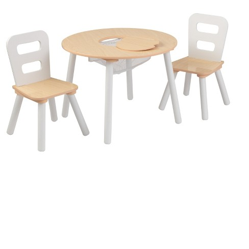 Round Table and Chair White/Natural (Set of 2) - KidKraft - image 1 of 4