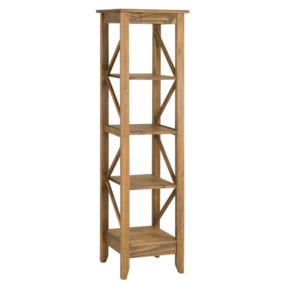 18.5 Jay Solid Wood Bookcase with 4 Shelves Natural - Manhattan Comfort