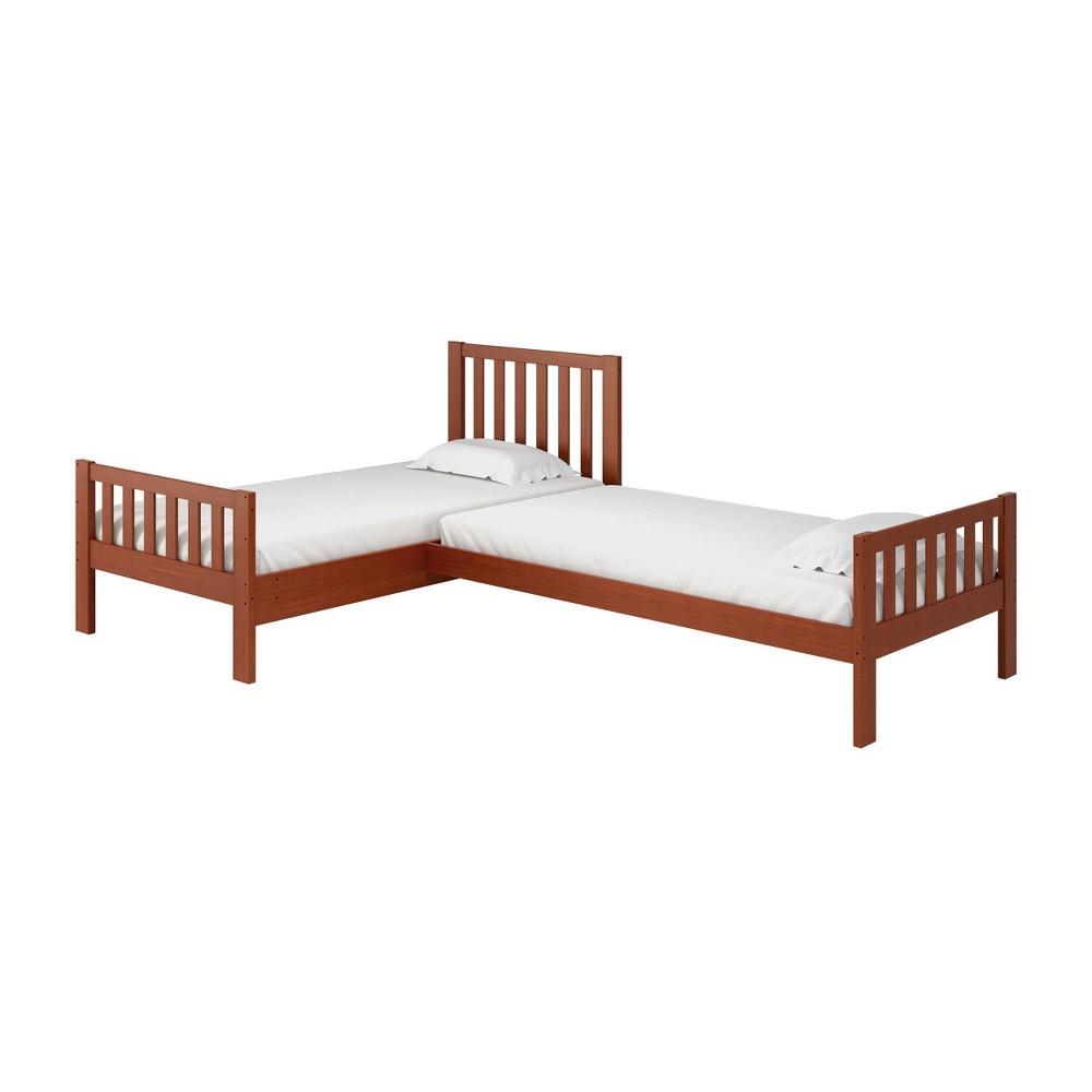 Twin Aurora Corner Bed Chestnut (Brown) - Alaterre Furniture