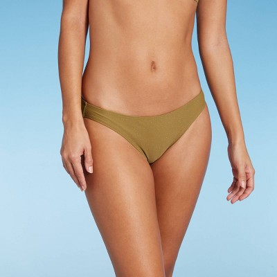 Juniors' Metallic Cheeky Hipster Bikini Bottom - Xhilaration™ Army Green