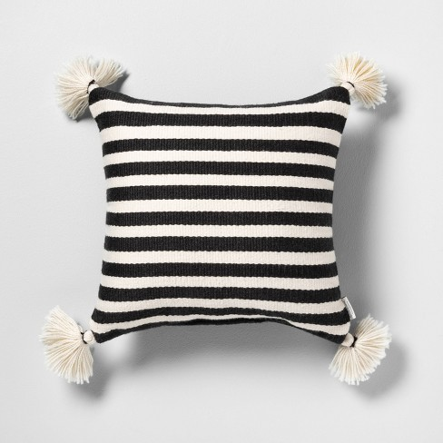 Outdoor Toss Pillow Black / White Stripe with Tassels - Hearth & Hand™ with Magnolia - image 1 of 4